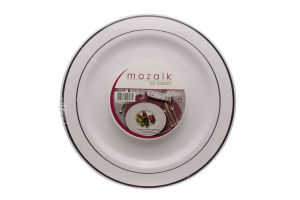 Н-р тарелок Sabert с сер.ободком бел 23см 6шт D01