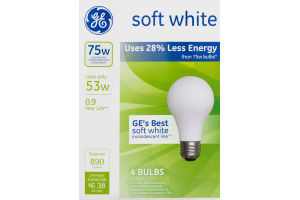 GE Lightbulbs Soft White 75W - 4 CT