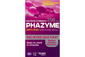 Phazyme Anti-Gas Simethicone 250mg Maximum Strength Soft Gels - 12 CT