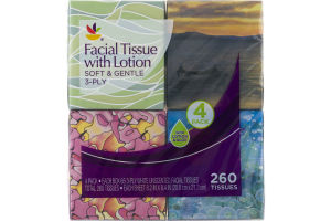 Ahold Facial Tissues Soft & Gentle 3-Ply - 4 PK
