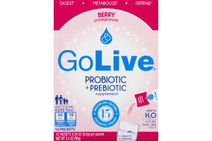 GoLive Probiotic + Prebiotic Supplement Packets Berry Pomegranate - 10 CT