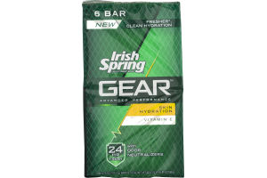 Irish Spring Gear Skin Hydration Soap Bars - 6 CT