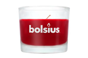 Свеча Bolsius темно-красная в стекле 80/92мм