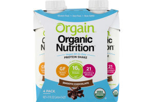 Orgain Organic Nutrition Protein Shake Smooth Chocolate - 4 PK