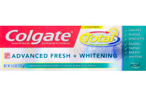 Colgate Total Advanced Fresh + Whitening Toothpaste Gel