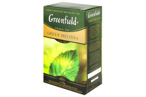 Чай зелений байховий листовий з листям меліси і м'яти та ароматом лимона Green Melissa Greenfield к/у 85г