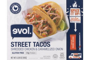 evol. Street Tacos Shredded Chicken & Caramelized Onion Ancho Crema