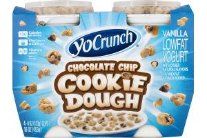 YoCrunch Lowfat Vanilla Yogurt Chocolate Chip Cookie Dough - 4 CT