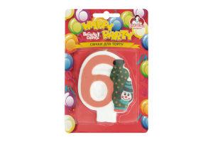 Свічка-цифра для торту з клоуном №6 Happy Party Помічниця 1шт