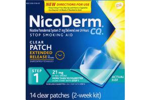 NicoDerm CQ Stop Smoking Aid Clear Patch 21 mg 2-Week Kit - 14 CT