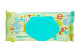 Салфетки влажные детские Ромашка Natural clean Pampers 64шт