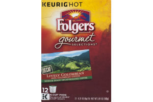 Folgers Gourmet Selections Keurig Hot K Cups Lively Colombian Decaf Medium Roast Coffee - 12 CT