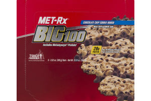 MET-Rx Big100 Meal Replacement Bar Chocolate Chip Cookie Dough 9 CT