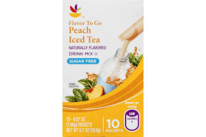 Ahold Flavor To Go Sugar Free Drink Mix Packets Peach Iced Tea - 10 CT