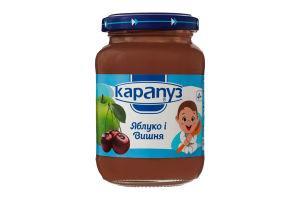 Пюре для детей от 4мес из яблок и вишен Карапуз с/б 200г