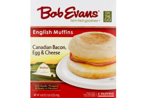 Bob Evans English Muffins Canadian Bacon, Egg & Cheese - 4 CT