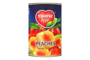 Персики у сиропi Половинками Тропик Лайф з/б 390г