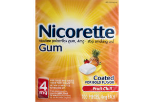 Nicorette Stop Smoking Aid Coated Gum Fruit Chill - 100 CT