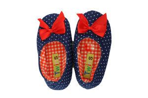 Тапочки-чешки комнатные детские трикотажные Twins Горох 28-29 синие