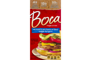 Boca Veggie Protein Burgers All American Flame Grilled - 4 CT
