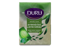 Мыло туалетное для душа с экстрактом оливкового масла и с листьями оливы Natural Olive Duru 4*150г