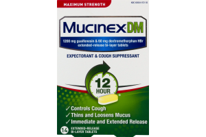 Mucinex DM Expectorant & Cough Suppressant Bi-Layer Tablets - 14 CT