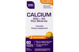 Smart Sense Calcium 600 + D3 Plus Minerals Dietary Supplement Chewable Tablets - 60 CT
