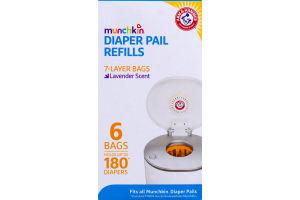 Munchkin Arm & Hammer Diaper Pail Refills Bags Lavender Scent - 6 CT