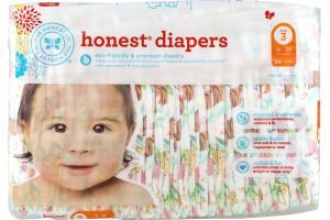 The Honest Co. Honest Diapers Jungle Friends Size 3 - 34 CT