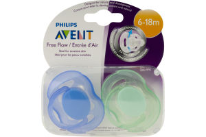 Philips Avent Free Flow Orthodontic Pacifiers 6-18m - 2 CT