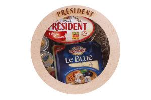 Набор Сыр 50% Le Blue 100г+Сыр 60% l'Ovale l'Extra Fondant 100г President+Джем Малиновый, Апельсиновый, Смородиновый 3х30г Дніпро 1шт