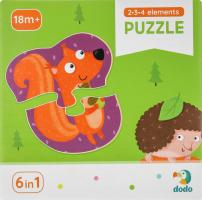 Пазл для детей от 18мес №300195 Лесные животные 2-3-4 элемента Dodo 18эл