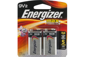 Energizer Max + Powerseal Batteries 9V - 2 CT