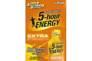 5-Hour Energy Extra Strength Dietary Supplement Peach Mango - 6 CT