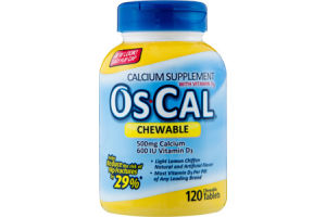 Os-Cal Chewable Calcium Supplement with Vitamin D3 Tablets - 120 CT
