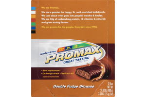 Promax Energy Bar Double Fudge Brownie Gluten-Free - 12 CT
