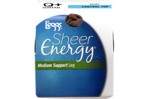 L'eggs Sheer Energy Medium Support Leg Control Top Suntan Q+