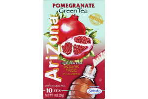 Arizona Pomegranate Green Tea Sugar Free 0 Calories Iced Tea Stix- 10 CT