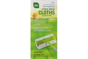 Smart Sense Wet Mopping Cloths Presoaked Refills Citrus Fresh