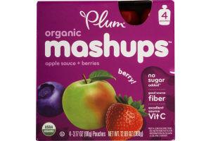 Plum Organic Mashups Apple Sauce + Berries Berry - 4 CT