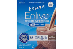 Abbott Ensure Enlive Advanced Nutrition Shake Milk Chocolate - 4 CT