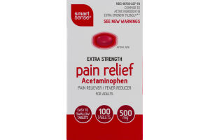 Smart Sense Extra Strength Pain Relief Acetaminophen Tablets - 100 CT