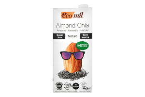 Молоко органічне рослинне з мигдалю з насінням Чіа Ecomil т/п 1л