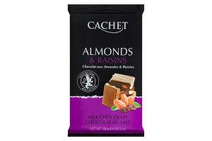 Шоколад Cachet 300г миндаль изюм