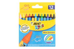 Мелки цветные восковые Kids Bic 12шт