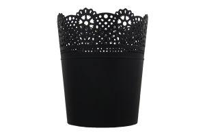Горшок д/цвет Prosperplast Lace круг антрацит140мм