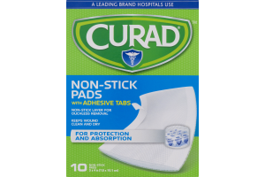 Curad Non-Stick Pads with Adhesive Tabs 3x4in - 10 CT