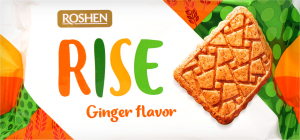 Печиво Roshen Rise здобне цільнозер. з аром. Імбиру 118г х28