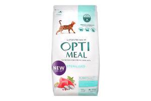 Корм сухой для стерилизованных котов Индейка и овес Optimeal м/у 1.5кг