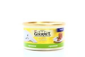 Корм для котов с кроликом паштет жестяная банка ключ Gourmet gold 85г